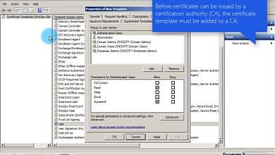 Photo of 3.6.1-1 Duplicate-Configure the User Certificate Template permissions enable AutoEnroll WS 2012 R2
